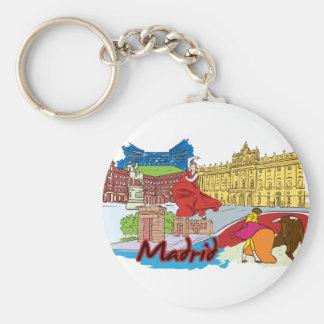 Madrid, Spain World Famous City Basic Round Button Key Ring