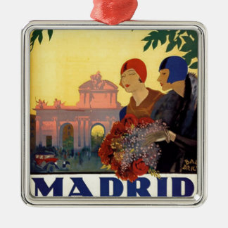 Madrid Temporada de Primavera - Vintage Art Poster Silver-Colored Square Decoration