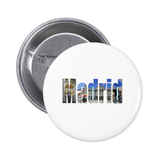 Madrid tourist attractions pinback button