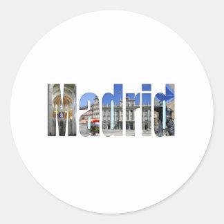 Madrid tourist attractions round stickers
