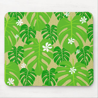 MadTropic Monstera & Tiare w/palm weave Mouse Pad