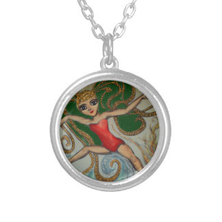 Maeve with Flame and Wave Silver Plated Necklace