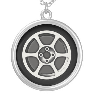 Mag Car Wheel Silver Plated Necklace