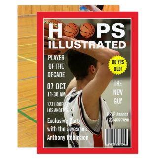 Magazine Celebrity Basketball Birthday Party photo Card