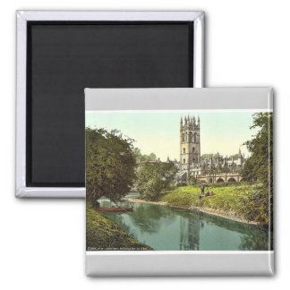 Magdalen Tower, from the river, Oxford, England ma Square Magnet