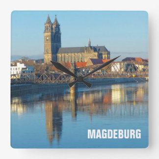 Magdeburg Cathedral with river Elbe 01.2.T Square Wall Clock