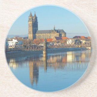 Magdeburg Cathedral with river Elbe 01 Coaster