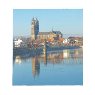 Magdeburg Cathedral with river Elbe 01 Notepad