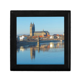 Magdeburg Cathedral with river Elbe 01 Small Square Gift Box