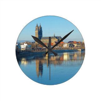 Magdeburg Cathedral with river Elbe 01 Wallclock