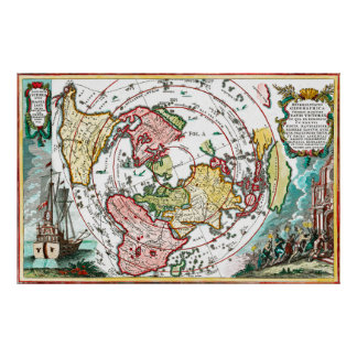 Magellan Journey Flat Earth Map Poster