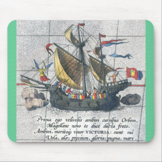 Magellan's ship a depiction from 1590 mouse pad