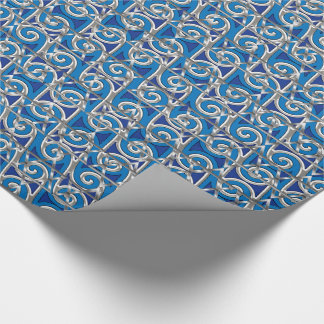 Magen David Swirl Blue and Silver Mosaic