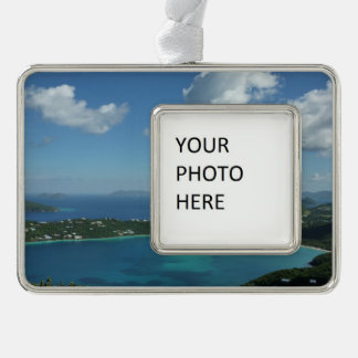 Magens Bay, St. Thomas Beautiful Island Scene Silver Plated Framed Ornament