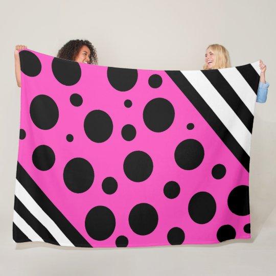 Magenta and Black Polka Dots and Stripes Blanket