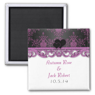 Magenta and Black Wedding Favor Save the Date Square Magnet