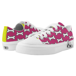 Magenta and Chartreuse Dog Bone #GOFORTH Low Tops