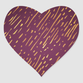 Magenta and Faux Gold Foil Streaks Heart Sticker