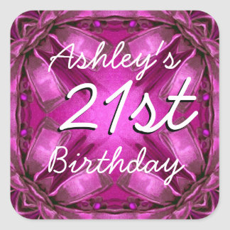 Magenta and Pink Bows 21st Birthday Custom Name Square Sticker