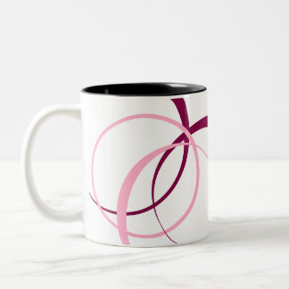 magenta and pink design Two-Tone coffee mug