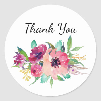 Magenta and Pink Watercolor Floral Thank You Classic Round Sticker