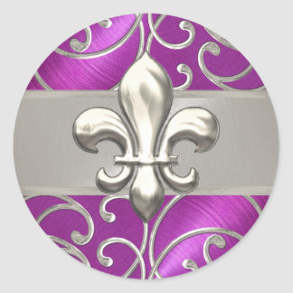Magenta and Silver Filigree Swirls Fleur de Lis Round Sticker
