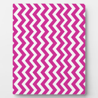 Magenta and White Chevrons Display Plaques