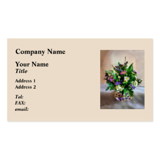 Magenta and White Mum Bouquet Pack Of Standard Business Cards