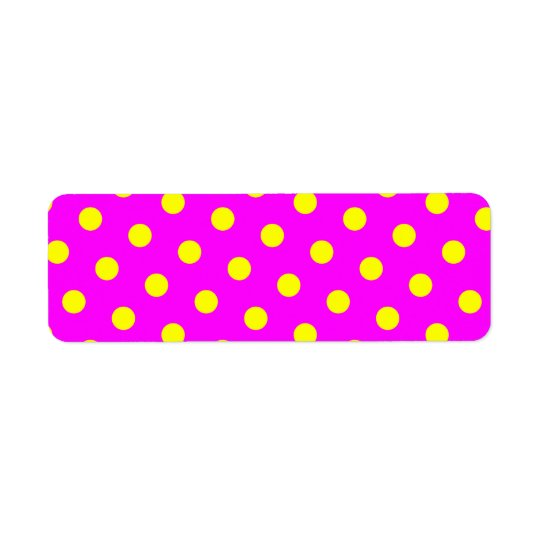 Magenta and Yellow Polka Dots Return Address Label