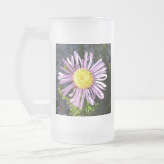 Magenta Aster - A Star of Love and Fidelity Frosted Glass Beer Mug