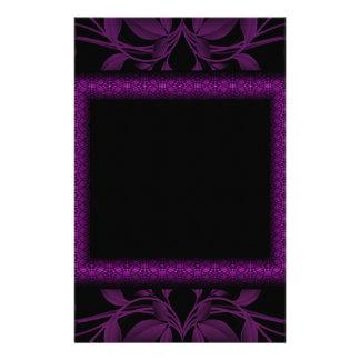 Magenta & Black Floral & Framed Monogram Personalized Stationery