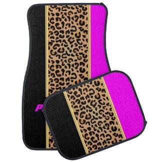 Magenta & Black Leopard Animal Print Floor Mat