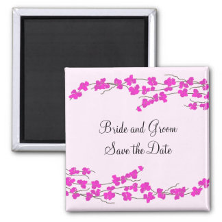 Magenta Blossoms Save the Date Square Magnet