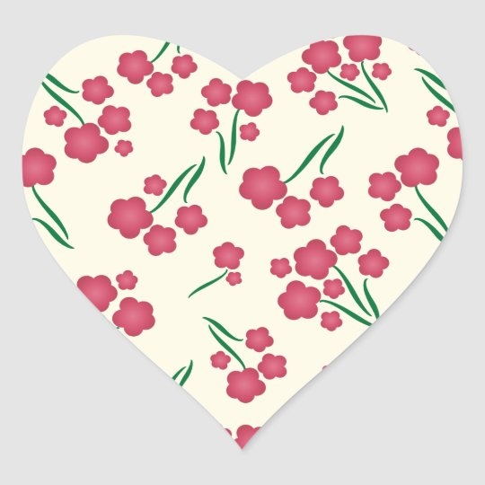 Magenta Bubble Flower Pink Flowers Spring Floral Heart Sticker