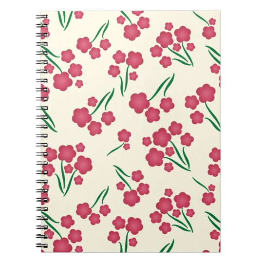 Magenta Bubble Flower Pink Flowers Spring Floral Notebook