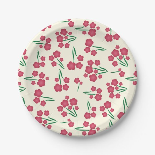 Magenta Bubble Flower Pink Flowers Spring Floral Paper Plate