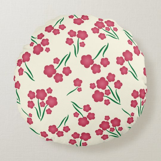 Magenta Bubble Flower Pink Flowers Spring Floral Round Cushion