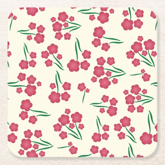 Magenta Bubble Flower Pink Flowers Spring Floral Square Paper Coaster