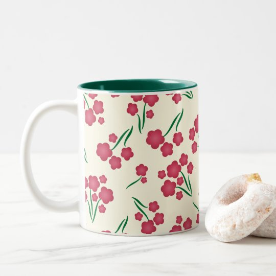 Magenta Bubble Flower Pink Flowers Spring Floral Two-Tone Coffee Mug