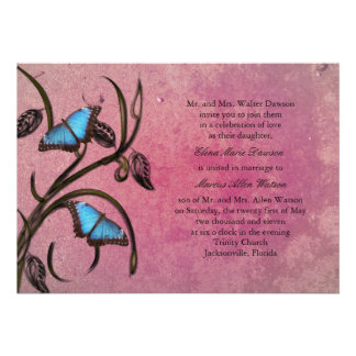 Magenta Butterfly Pair Wedding Invitation