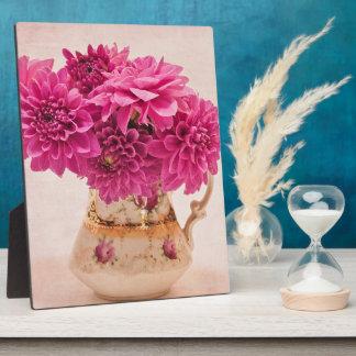 Magenta Dahlias In Vintage Vase Photo Plaque