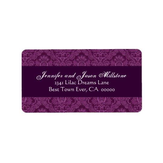 Magenta Damask Wedding Label