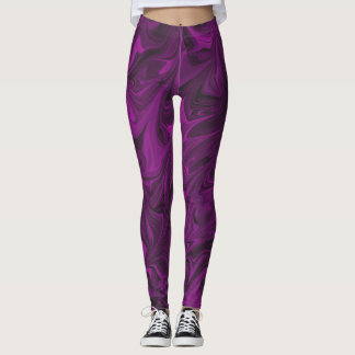 Magenta dark fuchsia Marbled Pattern legging