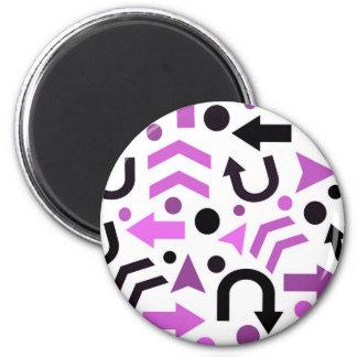 Magenta direction pattern 6 cm round magnet