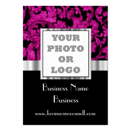 Magenta floral damask photo logo business card