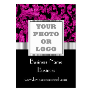 Magenta floral damask photo logo pack of chubby business cards