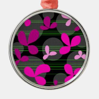 Magenta floral design Silver-Colored round decoration