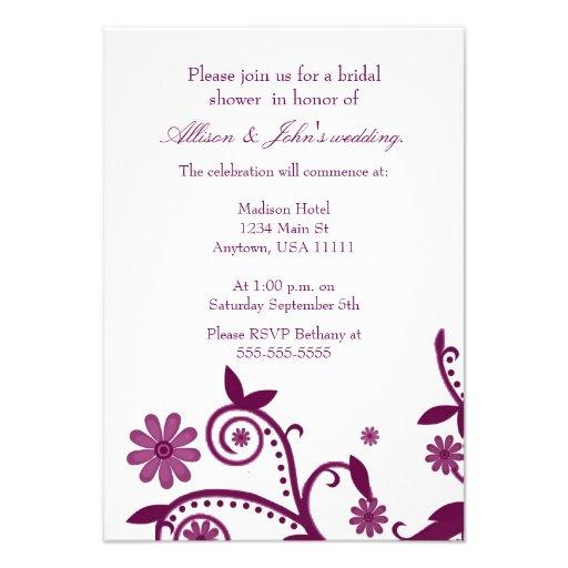 Magenta Floral Swirls Bridal Shower Invitation