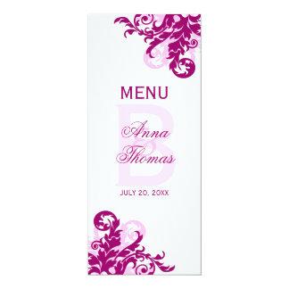 Magenta Flourish Menu Card