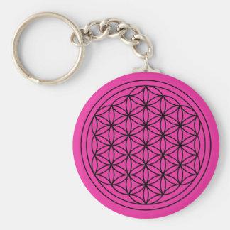 Magenta Flower of Life Mandala Keychain